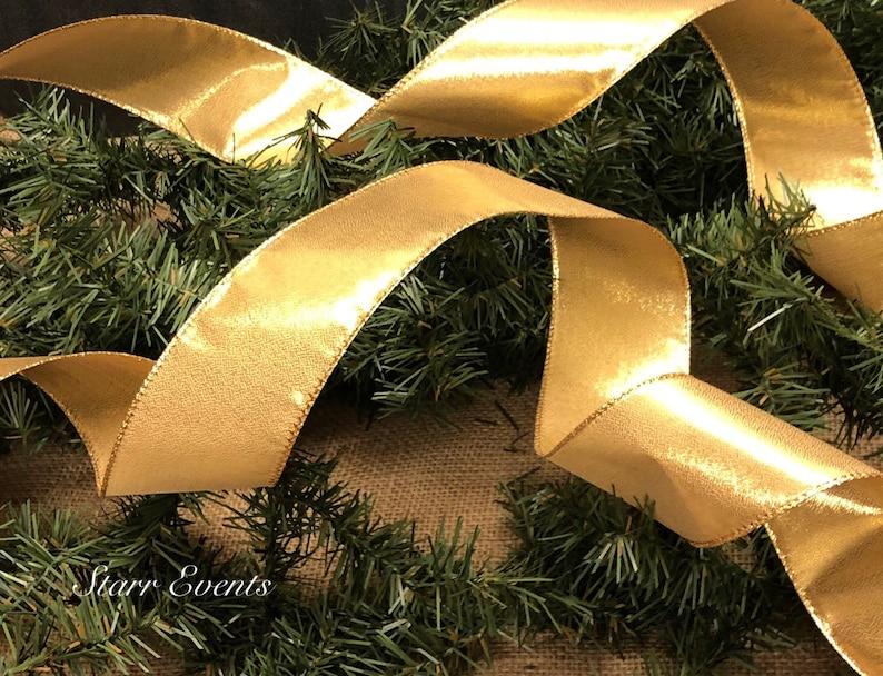 Gold Christmas ribbon by the yard Christmas decor 5 yard ribbon 2.5 gold ribbon Christmas wreath ribbon Gold Christmas decorations