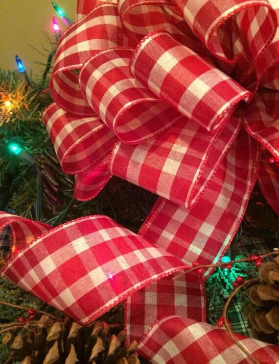 christmas tree topper large christmas tree bow christmas decor rustic christmas plaid bow rustic christmas ribbon primitive christmas bows - Large Christmas Bows