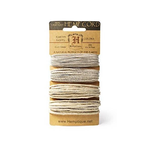 Hemptique Hemp Cord Spool 20# 205 Feet//Pkg-Dusty Olive