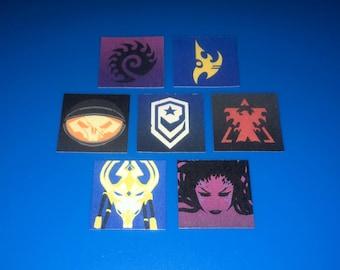 "STARCRAFT Stickers Overwatch Blizzard Icons - Mini Stickers 1"" and 2"" - {YOU CHOOSE} Kerrigan Queen of Blades Protoss Terran Zerg Jim"
