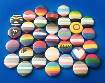 """SALE Limited Time Only Pride Flag Pin LGBT Gay Bisexual Tran Asexual Ally Intersex Pansexual Straight Trigender 1"""" Pin Badge Pinback Button"""