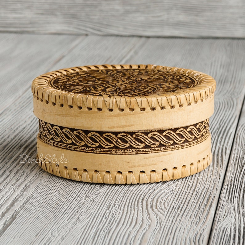 Small hand carved wood jewelry box with rowan ornament Tea box Round brown trinket box