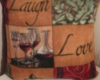 Wine motif fleece pillow