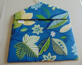Clothespin Bag -- Blue with flowers