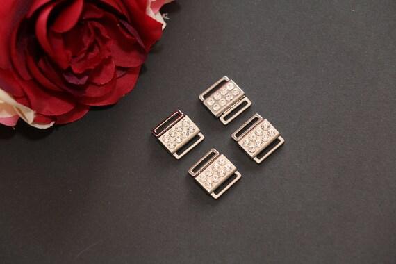 ba60a5a0d4b9f 1 2 12mm Silver Rhinestone Metal Bikini Clasps. Bra