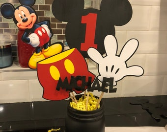 Customized Mickey Mouse Mason Jar Centerpieces Party Decorations