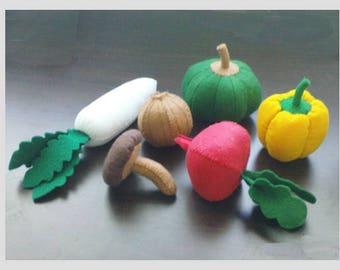 Felt Pattern Felt Vegetables Set II - Radish Pumpkin Sweet Pepper Mushroom - PDF Felt Patterns (Instant Download)