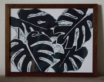 """Original Framed Linoleum Carved Print """"Philodendron Monstera"""" 15 x 12 inches"""