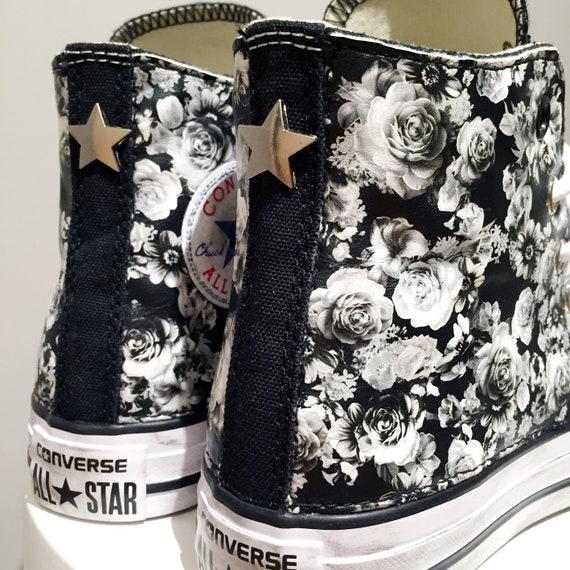 Converse All Star Chuck Taylor Black cloutés Sneakers personnalisé blancs roses en tissu
