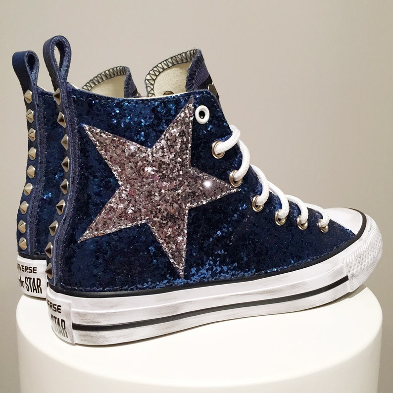 Converse All Star Chuck Taylor Custom, Blue Sneakers with studs and blue glitter fabric
