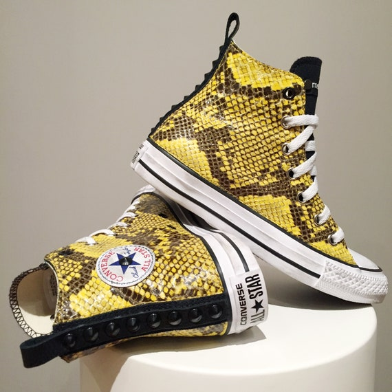 Converse All Star Chuck Taylor Custom, black Sneakers with studs and yellow python fabric
