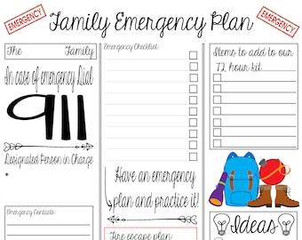 Family Emergency Planning Sheet - Digital Print 8x10