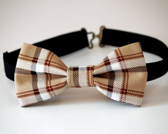 c2e682085655 Tan tartan plaid bow tie, gift for him, plaid mens bow tie, wedding bow tie,  tan plaid bow tie, burberry bow tie, beige tartan bow tie,groom