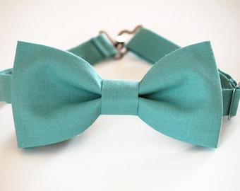 pastel turquoise bow tie linen bow tie wedding bow tie pale turquoise bow tie for men mens bow tie Light turquoise