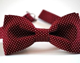 Burgundy bow tie, men's bow tie, wedding bow tie, maroon pin dots bow tie, boys bow tie, wine bow tie, groomsmen bow tie, ringbearer bow tie