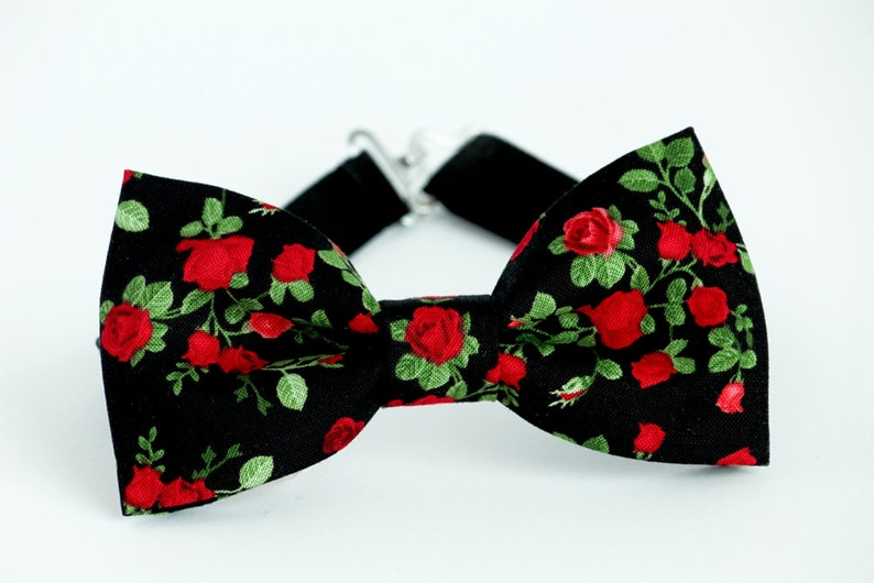 2f3745c4ae9e Mens black floral bow tie red roses bowtie groomsmen bow tie | Etsy
