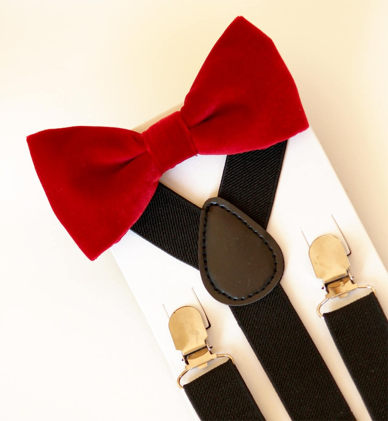 fb8cbc291a7 Red bow tie and black suspenders set Christmas bowtie and
