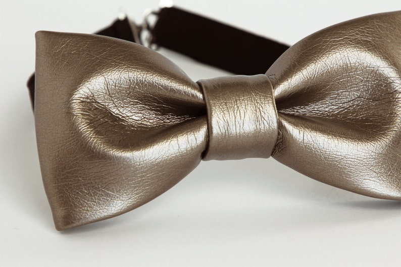 gift for him kids bow tie boys Bronze leather bow tie silver toddler grey leather bow tie unique gift faux leather mens bow tie