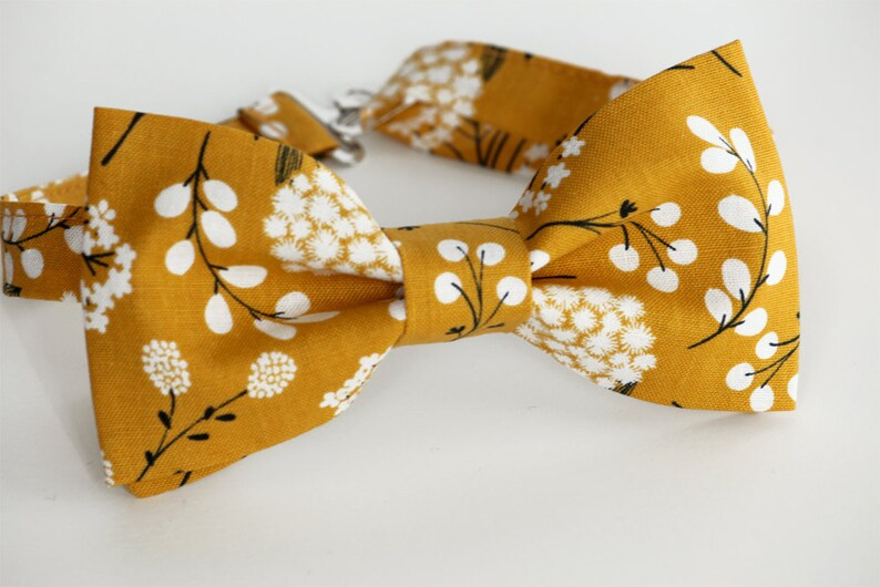 316f9149c925 Mustard floral bow tie fall family shoot bow tie mens bow   Etsy