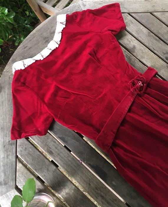 Vintage 40s/50s velvet dress S - image 9