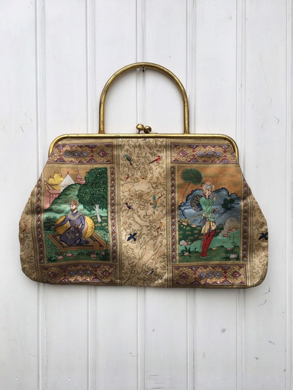 Vintage 50s silk novelty print bag
