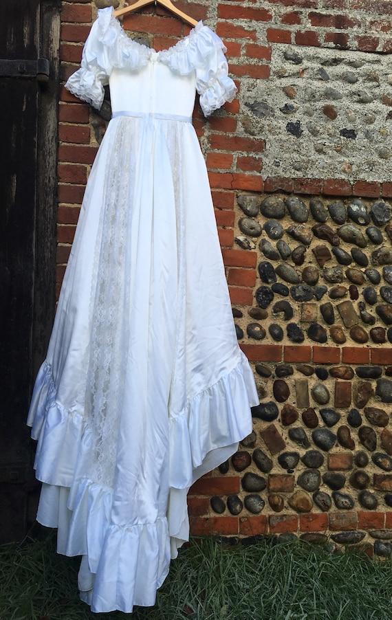 Vintage 80s puff sleeve wedding dress - image 6