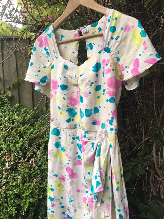 Vintage novelty print silk dress - image 5