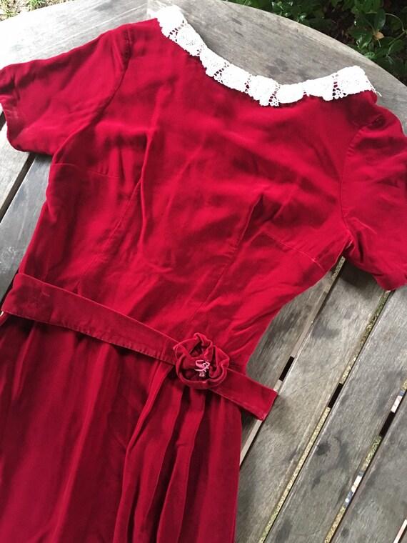 Vintage 40s/50s velvet dress S - image 1