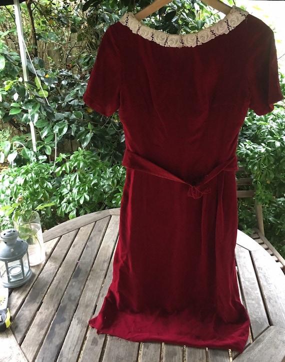 Vintage 40s/50s velvet dress S - image 2