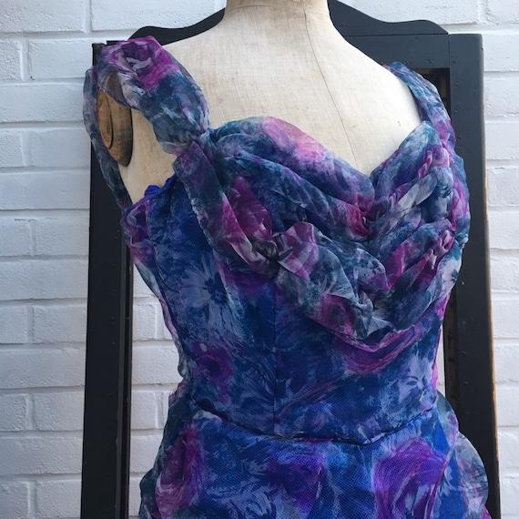 Vintage 50s chiffon floral print dress