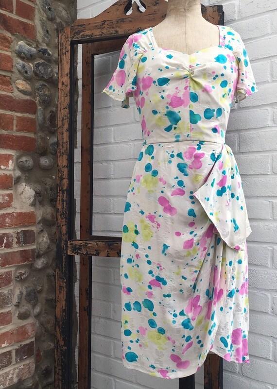 Vintage novelty print silk dress - image 2
