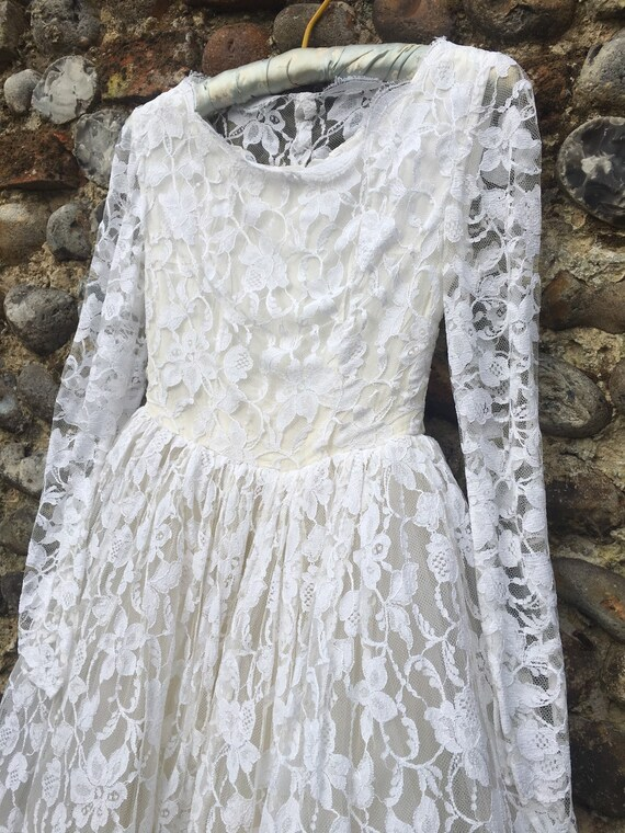 Vintage 50s lace wedding dress xs