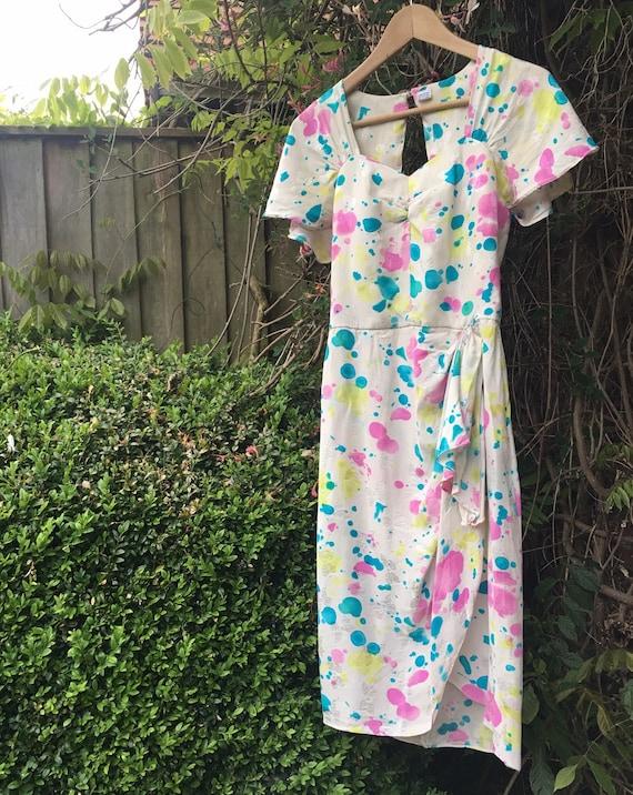 Vintage novelty print silk dress - image 9