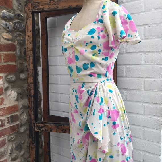 Vintage novelty print silk dress
