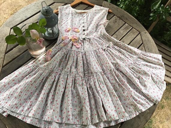 Vintage 50s floral rose cotton circle dress s