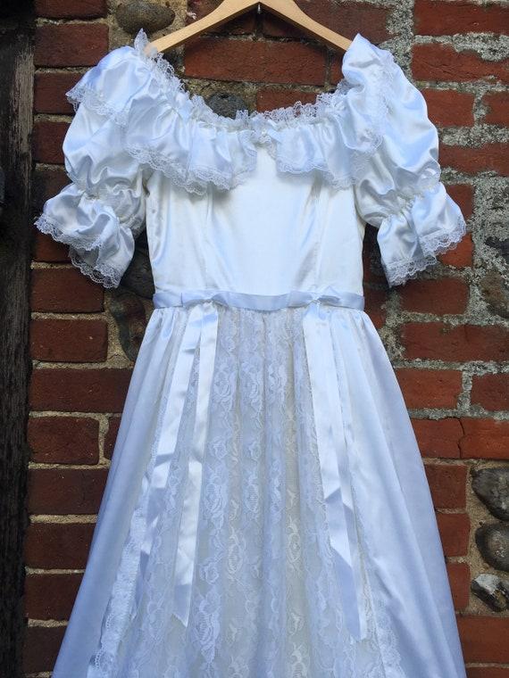 Vintage 80s puff sleeve wedding dress - image 2