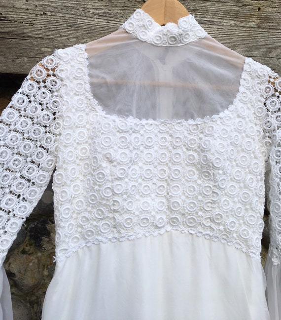 Vintage 70s boho crochet wedding dress