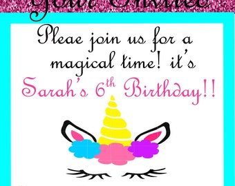 Unicorn invitation, Birthday party invitation, Unicorn baby shower invitation