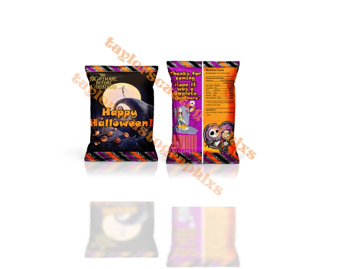 and party printable happy Halloween Halloween chip bags Nightmare before Christmas printable Halloween party chip bags
