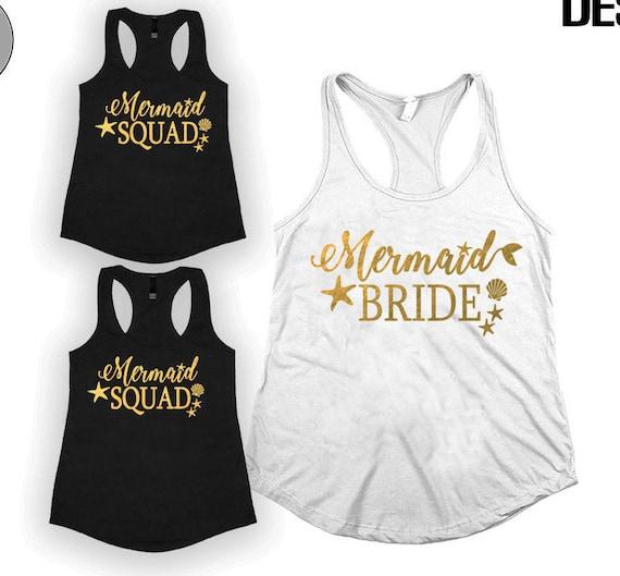 Mermaid bride shirt Bride squad Bridesmaids shirt  ef55ebc04572