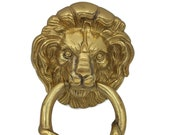 vintage large English Brass Lion Head Door Knocker with all the fitting