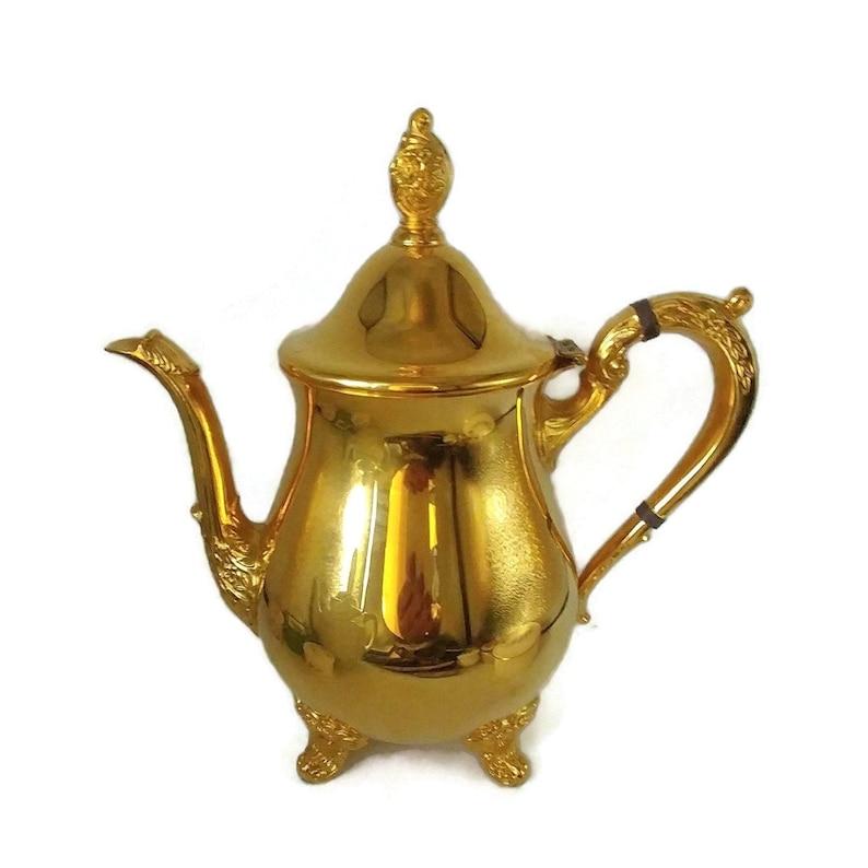 Vintage German gold plated Teapot,large teapot