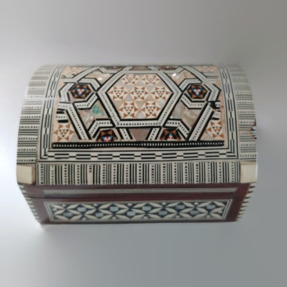 Egyptian-Handmade Islamic-Mother-of-Pearl-Mosaic-Inlaid-Wood-Jewelry Box