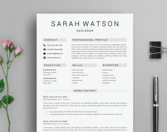 Resume Template, Resume, Professional Resume Template, Creative Resume Template For Word, Resume with cover letter Instant Download