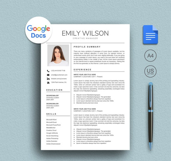 Google Resume Template Google Docs Resume Template Instant Etsy