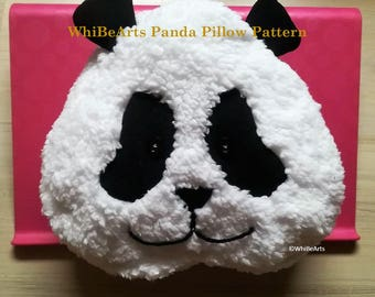 PDF Pattern, Panda Pillow, DIY, Pillow Pattern, instructions included