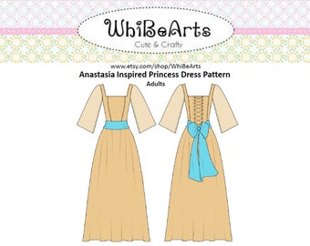 PDF Pattern, Anastasia, Dress, Adult, Woman, Cosplay, Pattern, Princess Dress, DIY, Costume, Printable, instructions included