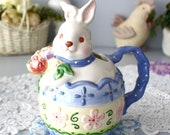 Bunny Watering Jug, Ceramic Teapot Pitcher, Spring Easter Décor, Rabbit in Dress w Flowers, Small Flower Holder, Garden Accents, Water Can