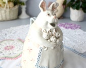 Vintage Fitz And Floyd Rabbit Teapot Pitcher, Mother Bunny w Little Bunnies, Mother Rabbit, Ceramic Teapot Can, Watering Jug, Easter, Spring