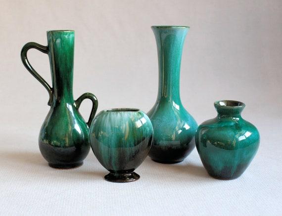 Blue Mountain Pottery Vase Evangeline Canuck Potteries Green Etsy